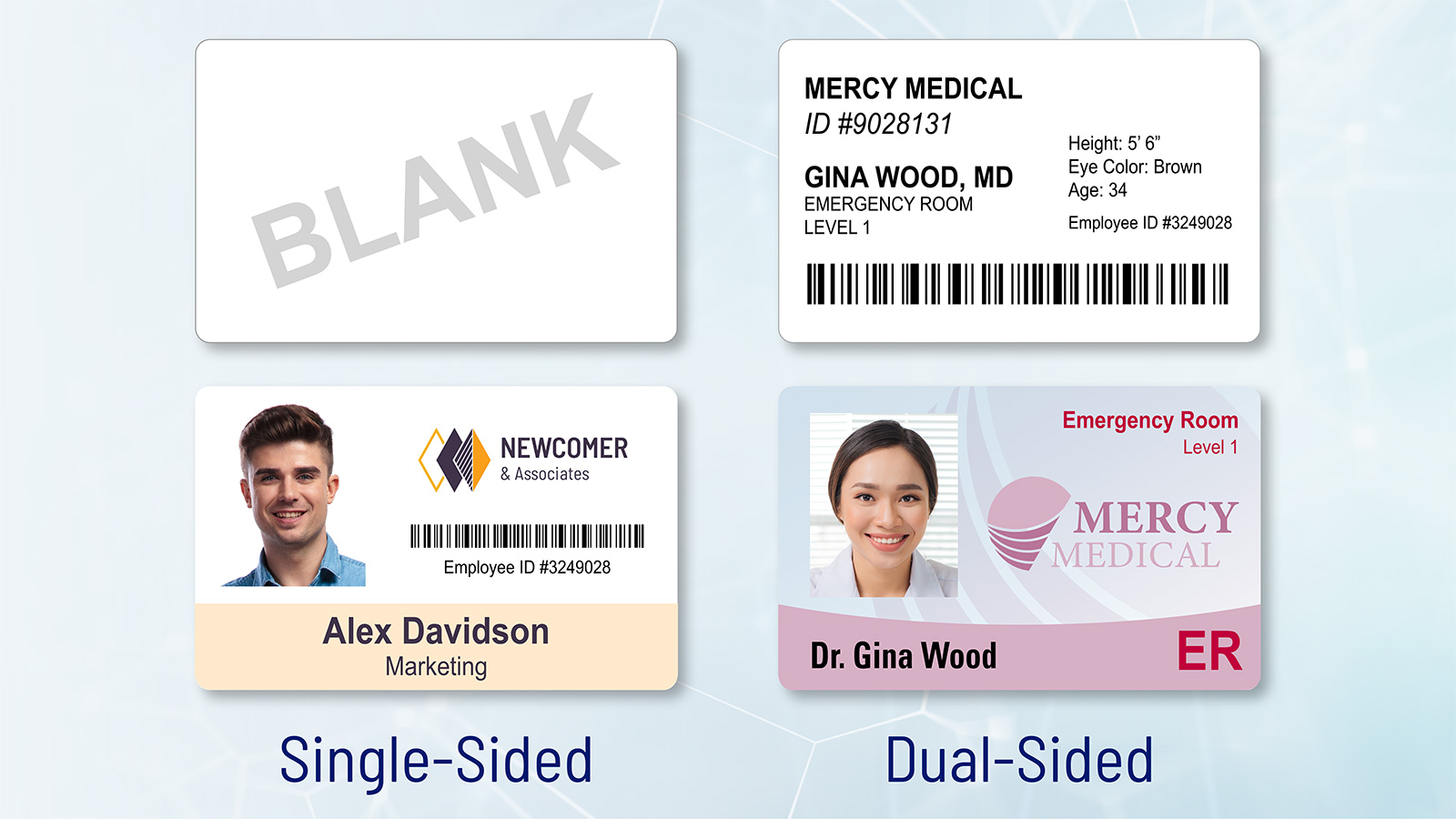 Single Sided or Dual Sided ID Cards